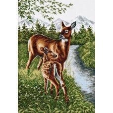 Набор для вышивания Олени у ручья, 27x39, Палитра