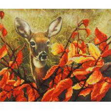 Набор для вышивания бисером Оленёнок в листьях, 23x28, МП-Студия