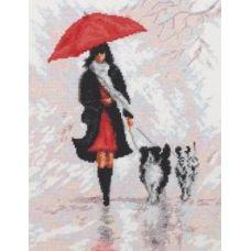 Набор для вышивания Дама с собачками, 20x26, Палитра