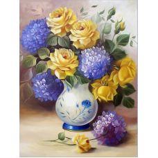 Живопись на холсте Розы и гортензии, 40x50, Paintboy, GX21886