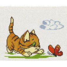 Набор для вышивания Котенок с бабочкой, 20x15, Палитра