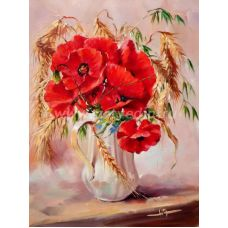 Живопись на холсте Маки с пшеницей, 40x50, Paintboy, GX22349