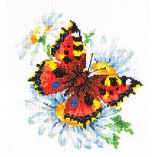 Набор для вышивания крестом Бабочка и ромашка, 17x18, Чудесная игла