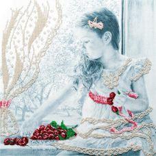 Набор для вышивания бисером Девочка с вишнями, 35x35, МП-Студия