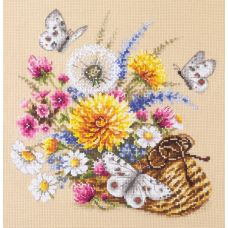 Набор для вышивания крестом Луговые цветы, 25x25, Чудесная игла