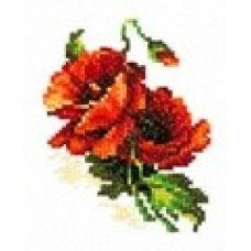 Набор для вышивания крестом Красный мак, 8x11, Чудесная игла