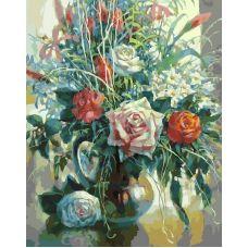 Живопись по номерам Натюрморт с белой розой, 40x50, Белоснежка