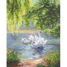 Набор для вышивания крестом Лебеди, 26x35, Чудесная игла