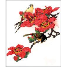 Набор для вышивания Птицы в цветах, 19x20, Вышиваем бисером