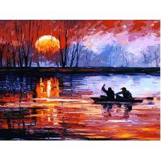 Живопись по номерам Рыбалка на закате, 30x40, Белоснежка