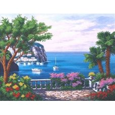 Набор для вышивания бисером Цветущая гавань, 40,5x31, Магия канвы