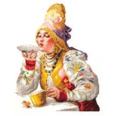 Набор для вышивания крестом Боярышня за чаем, 30x38, Чудесная игла