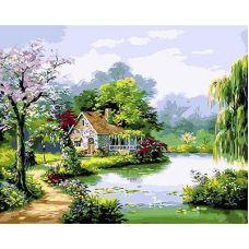 Живопись по номерам Домик на берегу озера, 40x50, Paintboy, GX3035