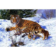 Живопись по номерам Тигрица с детками, 40x50, Paintboy, GX8328