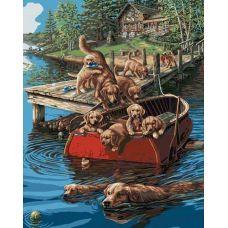 Живопись по номерам Плавание по-собачьи, 40x50, Paintboy, GX4331