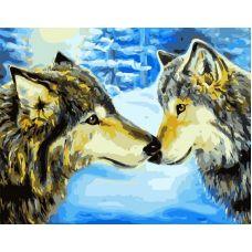 Живопись по номерам Волки в зимнем лесу, 40x50, Paintboy, GX7194