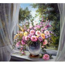 Живопись по номерам Букет на окне, 40x50, Paintboy, GX7343
