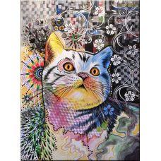 Живопись по номерам Цветная кошка, 40x50, Paintboy, GX3891