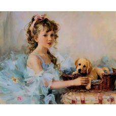 Живопись по номерам Девочка и щенок, 40x50, Paintboy, GX7037