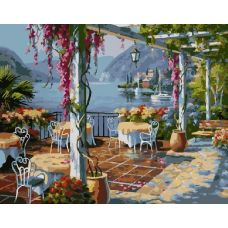 Живопись по номерам Кафе над морем, 40x50, Paintboy, GX8846