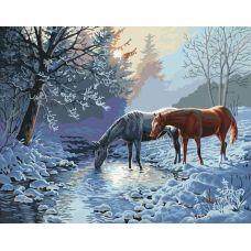 Живопись по номерам Лошади морозным утром, 40x50, Paintboy, GX7013