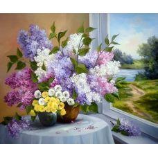 Живопись по номерам Сирень у окна, 40x50, Paintboy, GX8248