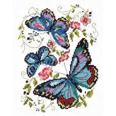 Набор для вышивания крестом Синие бабочки, 14x18, Чудесная игла