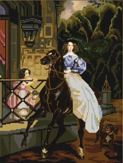 Всадница картина брюллова вышивка крестом 89