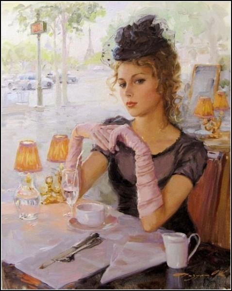 Испанский художник Ricardo Sanz. Картины маслом женщины ... | 600x478