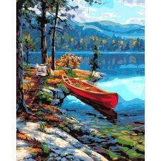 Живопись на холсте Красная лодка у таежного берега, 40x50, Paintboy, GX23496