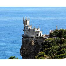 Живопись на холсте Ласточкино гнездо в Крыму на фоне моря Екатерины Высотиной, 40x50, Paintboy, GX24652