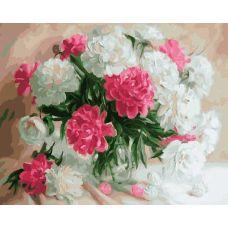 Живопись на холсте Белые и розовые пионы, 40x50, Paintboy, GX23799