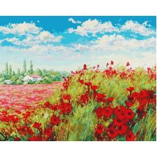 Живопись по номерам Маковое поле, 40x50, Белоснежка