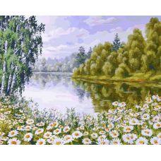 Картина по номерам В ромашковом краю, 40x50, Белоснежка