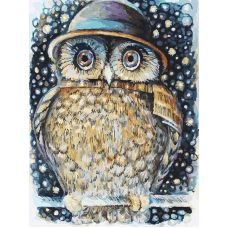 Живопись по номерам на картоне Сова в шляпе Оксаны Заики, 30x40, Белоснежка
