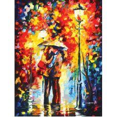 Живопись по номерам Поцелуй под дождем, Л. Афремов, 60x80, Белоснежка