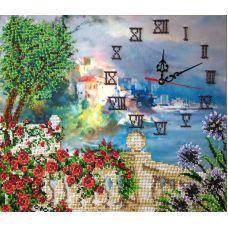 Вышивка бисером на шелке Часы. Рыбацкий городок, 33,5x36,5, FeDi