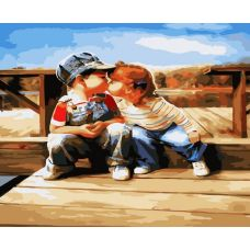 Живопись по номерам Поцелуй у реки, 40x50, Белоснежка