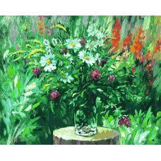 Лесные ромашки, Живопись на холсте, 40x50, Белоснежка