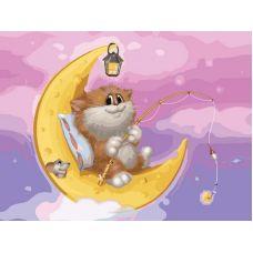Раскраска Котик на луне Алексея Долотова, 30x40, Белоснежка