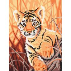 Живопись по номерам Тигренок в джунглях, 30x40, Белоснежка
