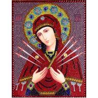 Вышивка термостразами Богородица Семистрельная, Преобрана