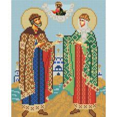 Ткань для вышивания бисером Святые Петр и Феврония, 20х25, Конек