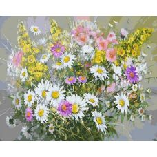 Картина по номерам Букет с ромашками, 40x50, Белоснежка