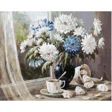 Живопись по номерам Хризантемы - цветы запоздалые, 40x50, Белоснежка