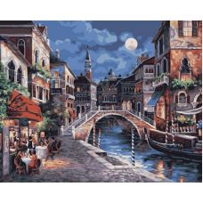 Раскраска Ночная Венеция Джеймса Ли, 40x50, Белоснежка