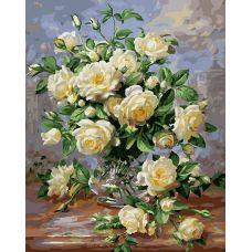 Картина по номерам Белые розы, 40x50, Белоснежка