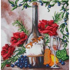 Вышивка бисером на габардине Вино, 40x32, Астрея