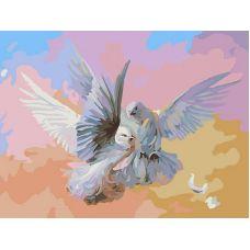 Живопись на холсте Полет белых голубей, 30x40, Белоснежка