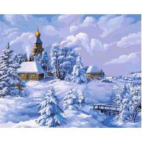 Живопись по номерам Зима в деревне Виктора Цыганова, 40x50, Белоснежка